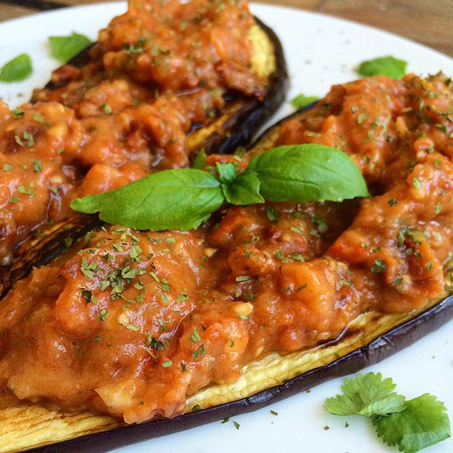 berenjenas con salsa de tomate exprés