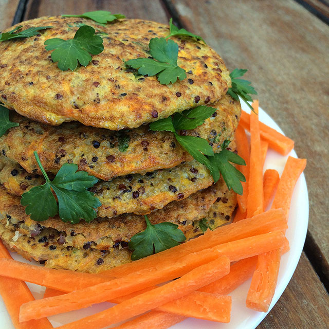 tortillitas saludables de quinoa y vegetales